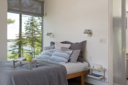 Bed features all-cotton linens from Schweitzer Linen in New York