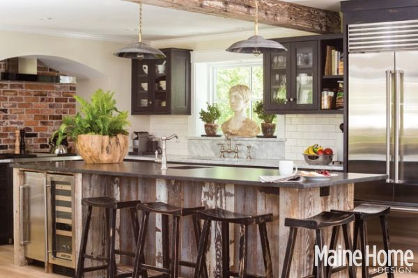 Farmhouse eclectic maine home design for Maine home design