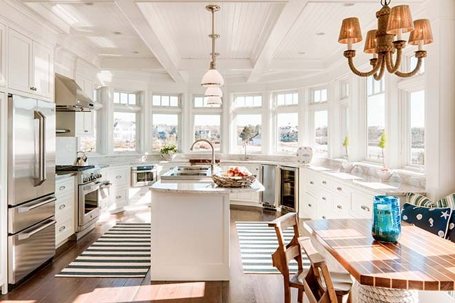 This classic kitchen was designed to suggest a ship s prow  The countertops  are of Valley White granite  Other nautical touches include the rope  chandelier  Family Heirloom in Kennebunk   Maine Home   Design. Porch Dining Room Kennebunkport. Home Design Ideas