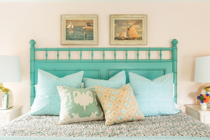 John Robshaw Bedding In Aqua And Peach Prints Inspired The Palette In  Another Guest Room. Faux Bamboo Detailing, Seen Here On A Headboard From  Hurlbutt ...