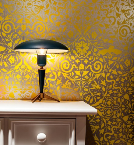 A little girl's room features metallic wallpaper by Flavor Paper that designer Krista Stokes says is flexible and fun enough to last through the teenage years