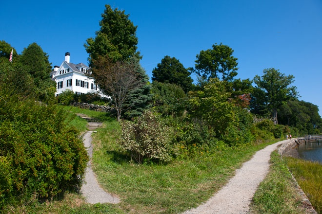 A beautiful home sits atop a hill in York, Maine