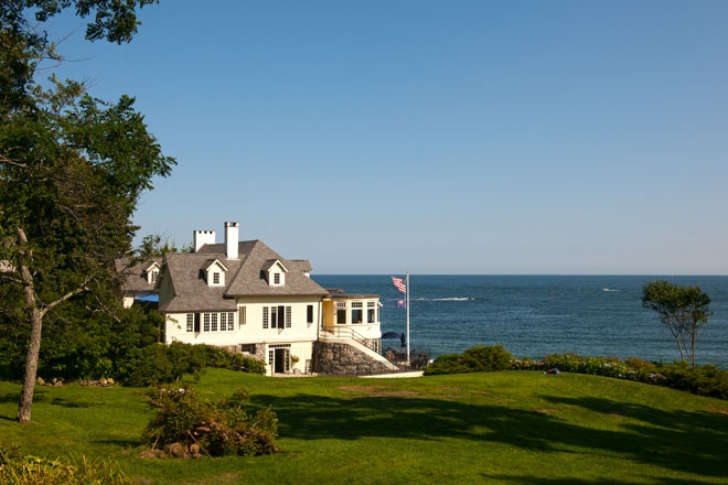 A grand home on the ocean's edge in York Harbor