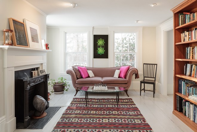 Artist in residence maine home design in the library martian green vesica piscis motifs in degennaros painting blueprint shine above earthier elements including a hand woven circa 1900 rug malvernweather Choice Image