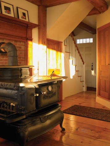 The Hadlocks went through Uncle Henry's to find many items for their home,  including the living room's pine floors, Vermont Castings woodstove, ...