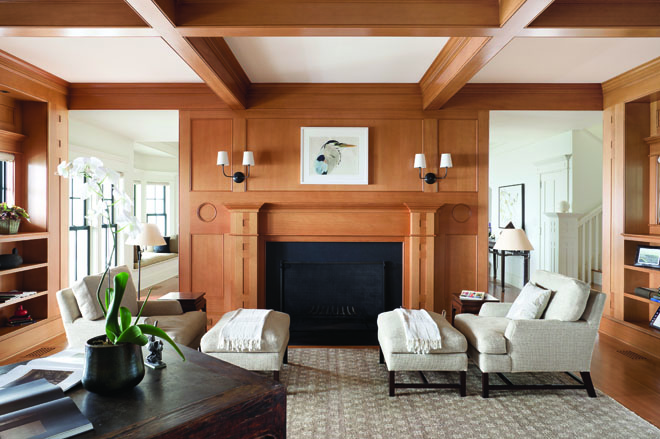 Ezra Howell of E.H. Fortner Woodworking paneled the fireplace and built-in bookshelves with Douglas fir to distinguish the library from the whitewashed ... & Scenic Overlook - Maine Home + Design pezcame.com