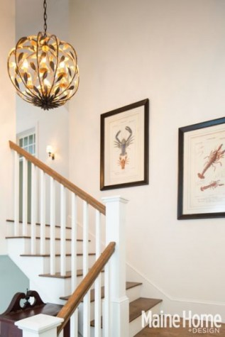 Heather Stephens fell in love with this chandelier from Patti Bros Lighting and Furniture and had to have it for the stairwell. u201cI love the pattern that the ... & Shingle-Style Roots - Maine Home + Design azcodes.com