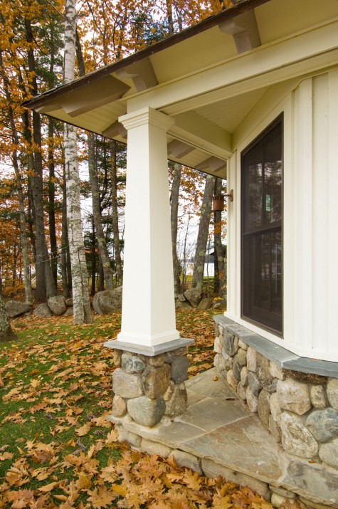 Stay together play together maine home design for Arts and crafts porch columns