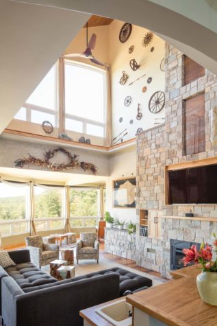 Marvelous Spanish Tile Accents Recessed Into The Face Of The Chimney Visually Break  Up Its Verticality. There Are No Skylights In The House; ...