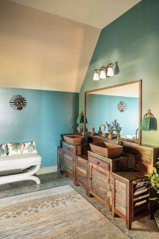 The Rug In The Upstairs Guest Bath Is From Mougalian Rugs, As Are All The  Rugs Throughout The Home. Although The Vanities Were Originally Intended As  ...