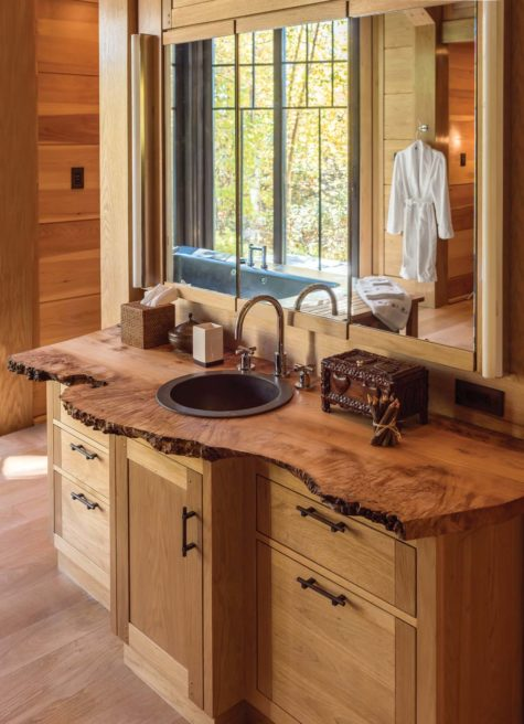 This Bathroom Features A Live Edge Burl Sink That U201cpays Homage To  Nakashima,u201d Mohr Explains. All The Cabinet Pulls In The Camp Are Shaped  Like Eight Sided ...