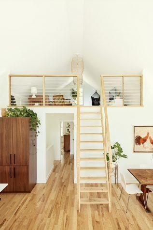 Upstairs, ash plank flooring built by Scott Raymond