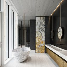 A bathroom featuring rock accents and interior design