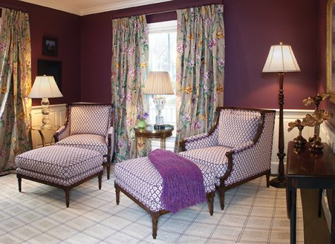 This bedroom by Margo Moore Interiors design reveals the affinity between the color plum and luxurious textiles