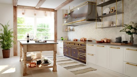 A classic white kitchen gets a welcome jolt of color from a custom plum colored range by L'Atelier Paris. Photo courtesy of L'Atelier Paris.